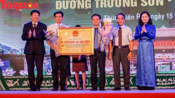 Thừa Thiên Huế đón nhận bằng xếp hạng Di tích Quốc gia đặc biệt Đường Trường Sơn Đường Hồ Chí Minh